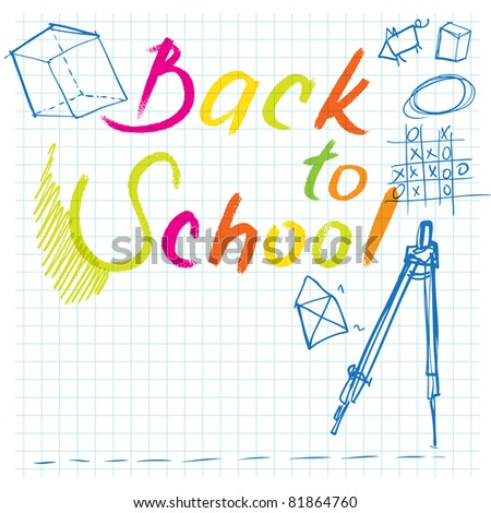 back to school background (with doodles on notepaper) - stock vector
