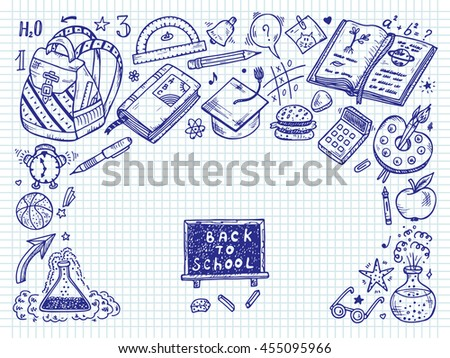 Back to school background with hand drawn doodle school supplies - Vector illustration