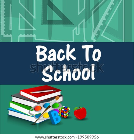 Back to School background with notebooks and alphabets and shapes on blue and green background.  - stock vector