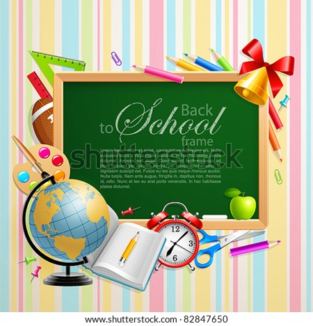 Back to school background with place for text and stationery. Vector illustration. Check my portfolio for raster version. - stock vector