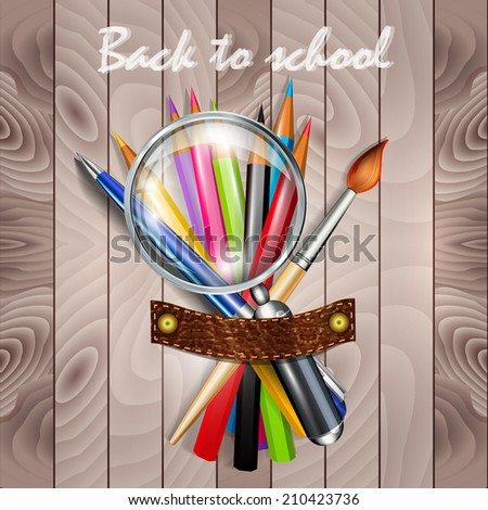 Back to school  background with school supplies - stock vector
