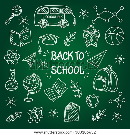 Back to school background with School Supplies and Lettering, Sketchy Doodles Elements, Vector Illustration - stock vector