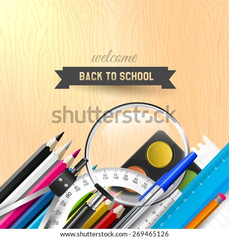 Back to school background with school supplies on wooden desk  - stock vector