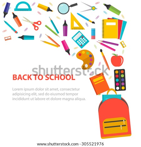 Back to school background with school supplies set, vector illustration. - stock vector