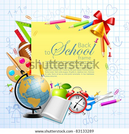 Back to school background with stationery and place for text. Vector illustration. Check my portfolio for raster version.