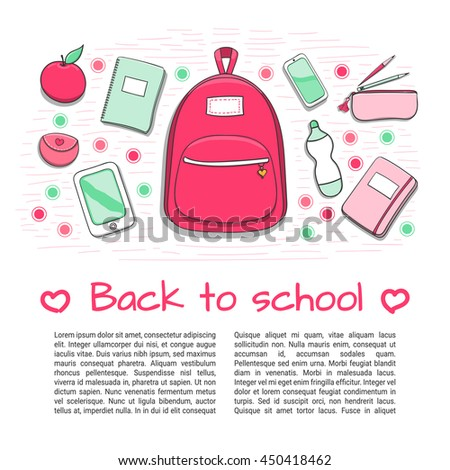 Back to school background with teenager girl's school supplies. Hand drawn school poster template for sale. Design for brochures, flyers, banners, booklets, leaflet with place for text. - stock vector