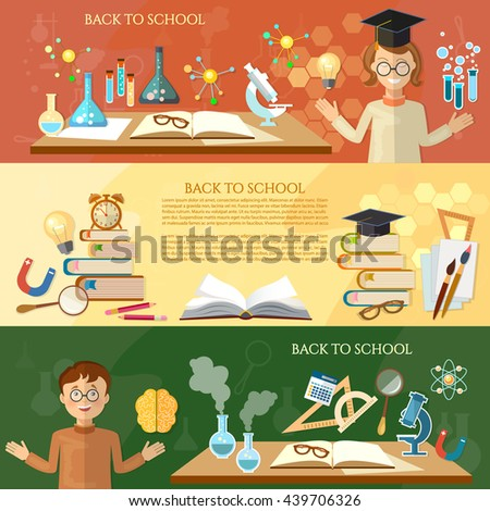 Back to school banner education students in the class open book knowledge science experiment school education tools vector illustration - stock vector