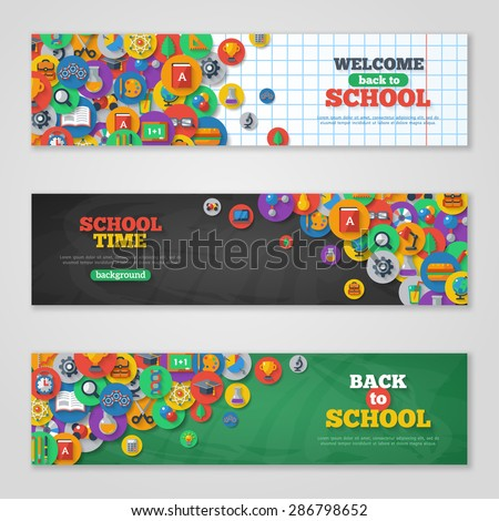 Back To School Banner Set With Flat Icons on Circles. Vector Flat Illustration. Arts and Science Stickers. Education Concept. - stock vector