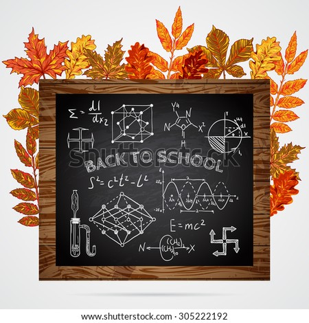 Back to school. Banner with chalkboard, educational inscriptions and autumn leaves. Vector  illustration - stock vector
