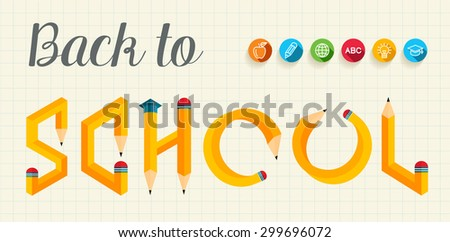 Back to school banner with creative letters pencil shape illustration. Ideal for web banner, education book cover and poster print. EPS10 vector file.