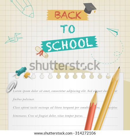 back to school banner with stationery element - stock vector