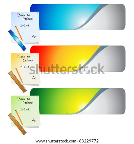 back to school banners - stock vector