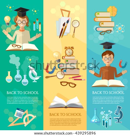 Back to school banners education students in the class school tools vector illustration - stock vector