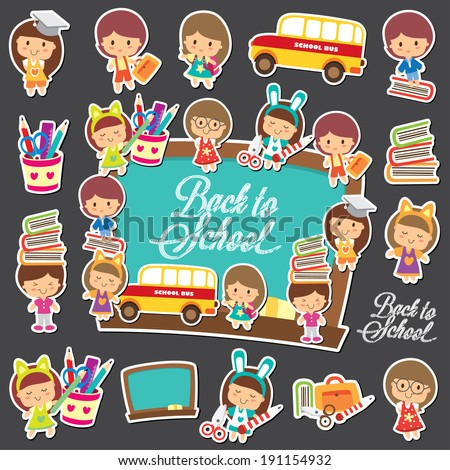 Back to school big collection set - stock vector