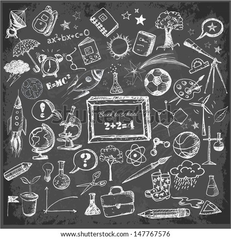 Back to school big doodles set on blackboard. Vector illustration.  - stock vector