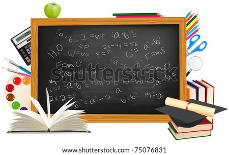 Back to school. Black desk with school supplies. Vector.