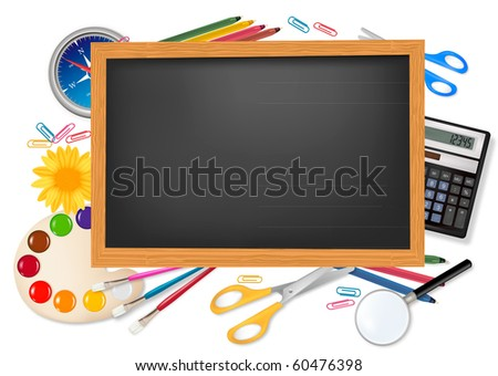 Back to school. Black desk with supplies. Vector. - stock vector