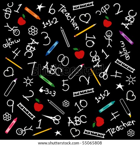 BACK TO SCHOOL blackboard background. Chalk drawings, crayons, markers, rulers, protractors, books, pencils, scissors, ABCs, schoolhouse, chalkboard, apples for the teacher.  EPS8 compatible.