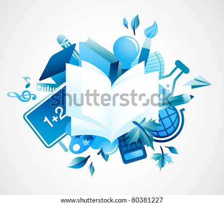 back to school - blue background - stock vector