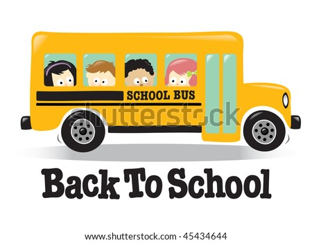 back school bus w kids stock vector 45434644 shutterstock rh shutterstock com Yellow School Bus Clip Art Yellow School Bus Clip Art