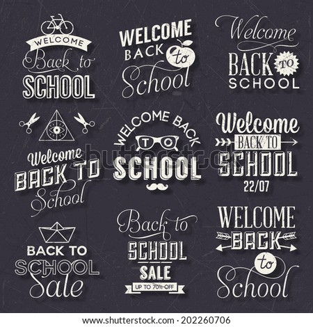 Back to School Calligraphic Design  - stock vector