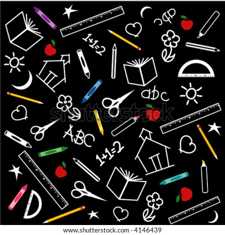BACK TO SCHOOL CHALKBOARD. Scissors, books, rulers, schoolhouse, pens, pencils, protractor, abc, crayons, red apples for the teacher, education, scrapbooks, multi color blackboard. EPS8 compatible.