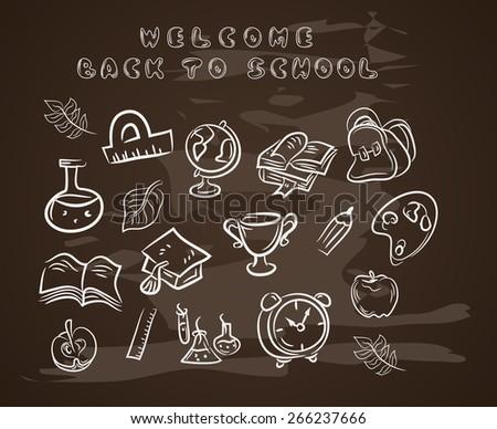 Back to school chalkboard sketch Education.Vector - stock vector