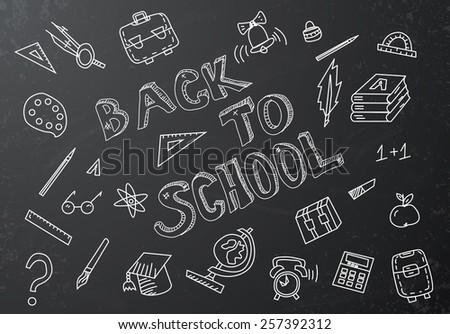 Back to school chalkboard sketch Vector illustration - stock vector