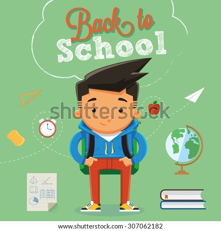 Back to school character design with elements and accessories - stock vector