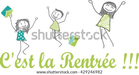 Back to school Children and parents or teachers who jump with joy because they are happy to return to school - stock vector