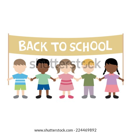 back to school children illustration - stock vector