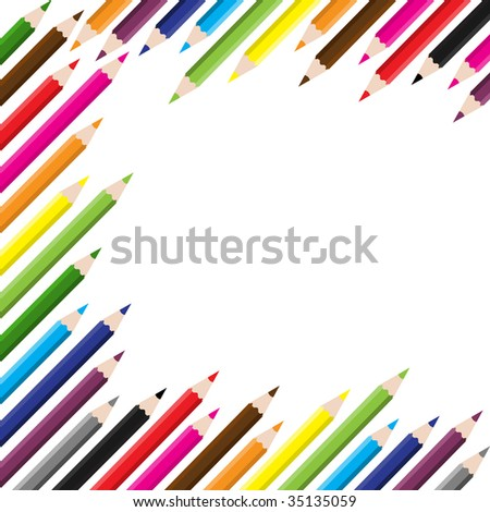 back to school colored pencil background - stock vector