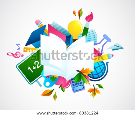 back to school - colorful background - stock vector