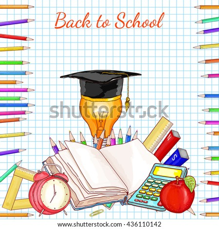 Back to school concept education school subjects open book exam study vector illustration - stock vector