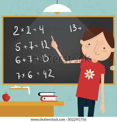 Back to school concept - girl writing equation on chalkboard - stock vector