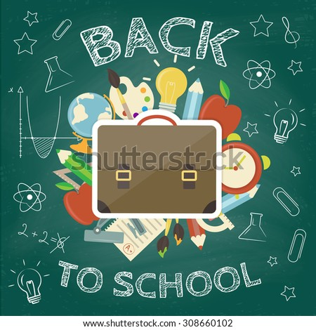 Back to school concept. Hand drawn background with icon set. Green chalkboard effect. Vector illustration - stock vector