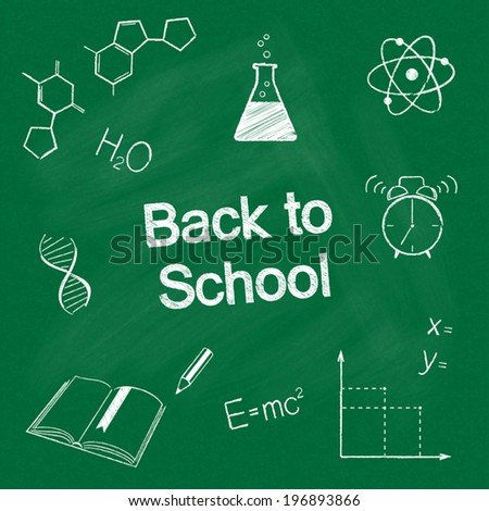 Back to school concept. Hand drawn school items chalked on blackboard - stock vector