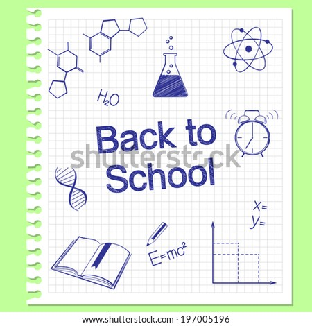 Back to school concept. Hand drawn school items on squared notebook paper - stock vector