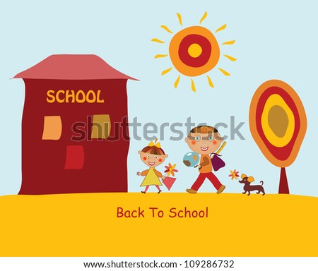 Back to school concept illustration background - stock vector