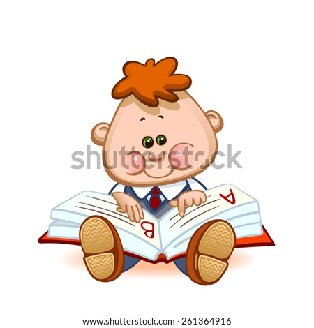 Back to school. Cute schoolchild at a lesson with the textbook. Vector illustration  - stock vector