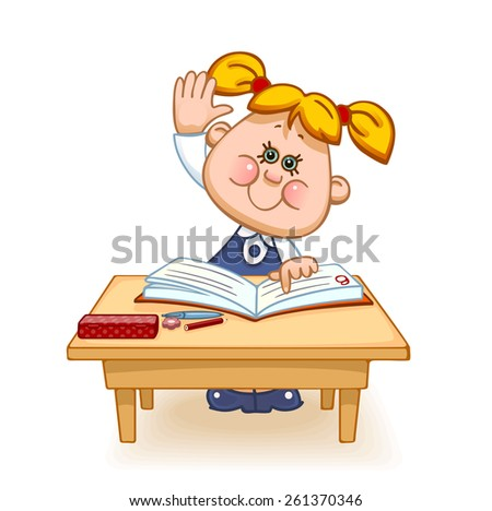 Back to school. Cute schoolchild at the table raises his hand to answer a lesson. Vector illustration  - stock vector