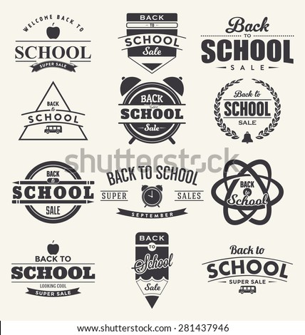 Back to School Design Collection. A Set of Twelve Dark Colored Vintage Style Back to School Designs on Light Background - stock vector