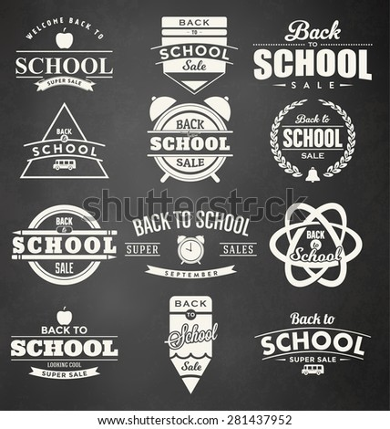 Back to School Design Collection. A Set of Twelve Vintage Style Back to School Designs on Black Chalkboard Background - stock vector
