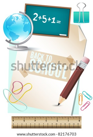 Back to school, design elements - stock vector