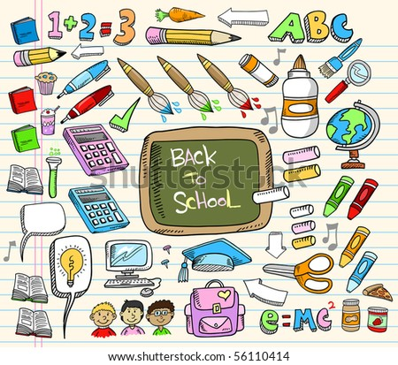 Back to School Doodle Education Vector Illustration Set - stock vector