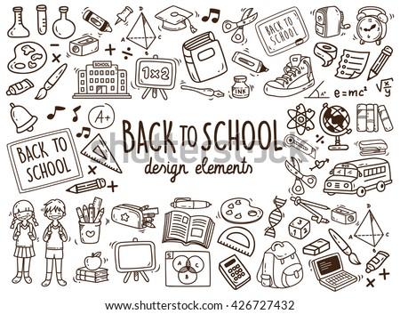 Back to school doodle elements - stock vector