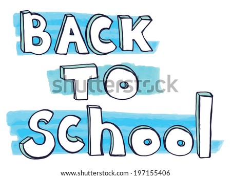 Back to school doodle lettering. Vector illustration with blue marker stains. - stock vector