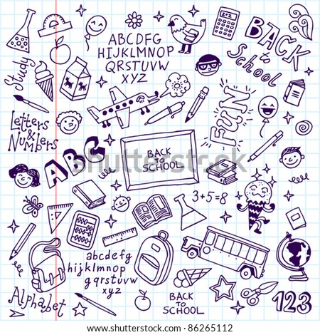 Back to school doodle set notebook. Vector illustration. - stock vector