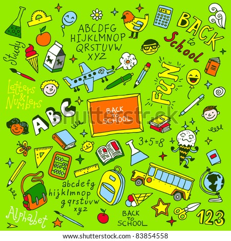 Back to school doodle set. Vector illustration. - stock vector