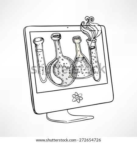 Back to school: Doodle style science laboratory beakers and test tubes illustration on computer screen in vector - stock vector